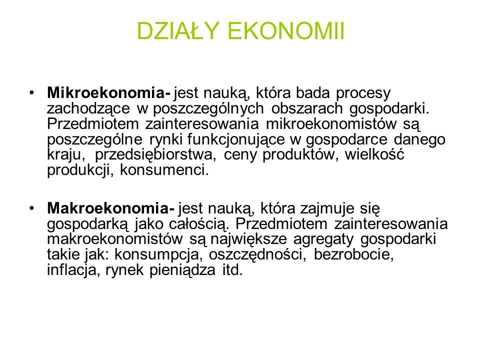 DZIAŁY EKONOMII Mikroekonomia- jest nauką, która bada procesy zachodzące w poszczególnych obszarach gospodarki. Przedmiotem zainteresowania mikroekono