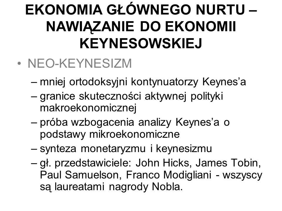 EKONOMIA GŁÓWNEGO NURTU – NAWIĄZANIE DO EKONOMII KEYNESOWSKIEJ NEO-KEYNESIZM –mniej ortodoksyjni kontynuatorzy Keynes'a –granice skuteczności aktywnej