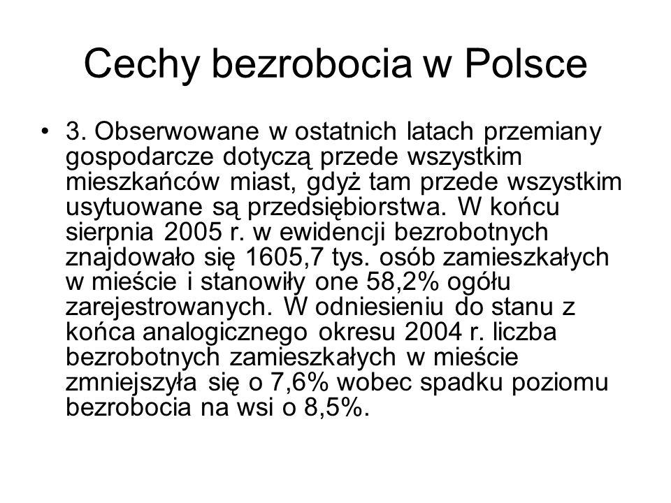 Cechy bezrobocia w Polsce 3. Obserwowane w ostatnich latach przemiany gospodarcze dotyczą przede wszystkim mieszkańców miast, gdyż tam przede wszystki
