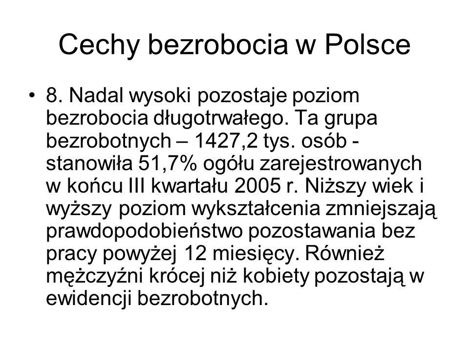 Cechy bezrobocia w Polsce 8. Nadal wysoki pozostaje poziom bezrobocia długotrwałego. Ta grupa bezrobotnych – 1427,2 tys. osób - stanowiła 51,7% ogółu