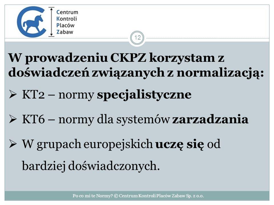W prowadzeniu CKPZ korzystam z doświadczeń związanych z normalizacją:  KT2 – normy specjalistyczne  KT6 – normy dla systemów zarzadzania  W grupach europejskich uczę się od bardziej doświadczonych.