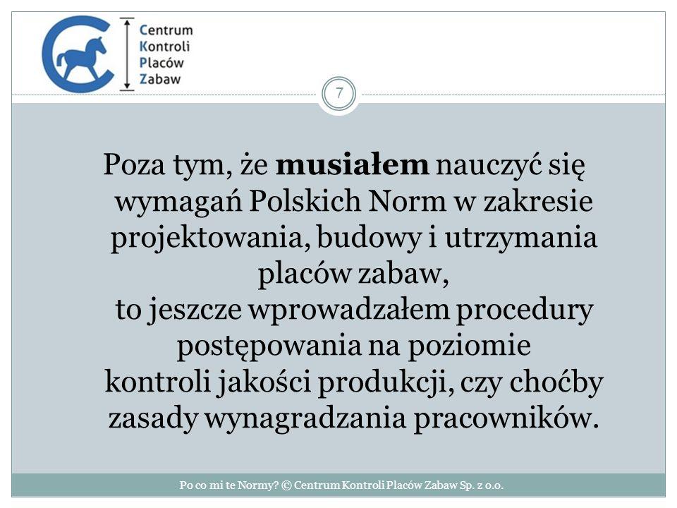 Poza tym, że musiałem nauczyć się wymagań Polskich Norm w zakresie projektowania, budowy i utrzymania placów zabaw, to jeszcze wprowadzałem procedury postępowania na poziomie kontroli jakości produkcji, czy choćby zasady wynagradzania pracowników.