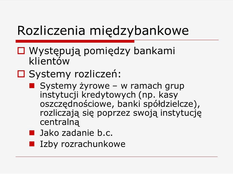 Rozliczenia międzybankowe  Występują pomiędzy bankami klientów  Systemy rozliczeń: Systemy żyrowe – w ramach grup instytucji kredytowych (np. kasy o