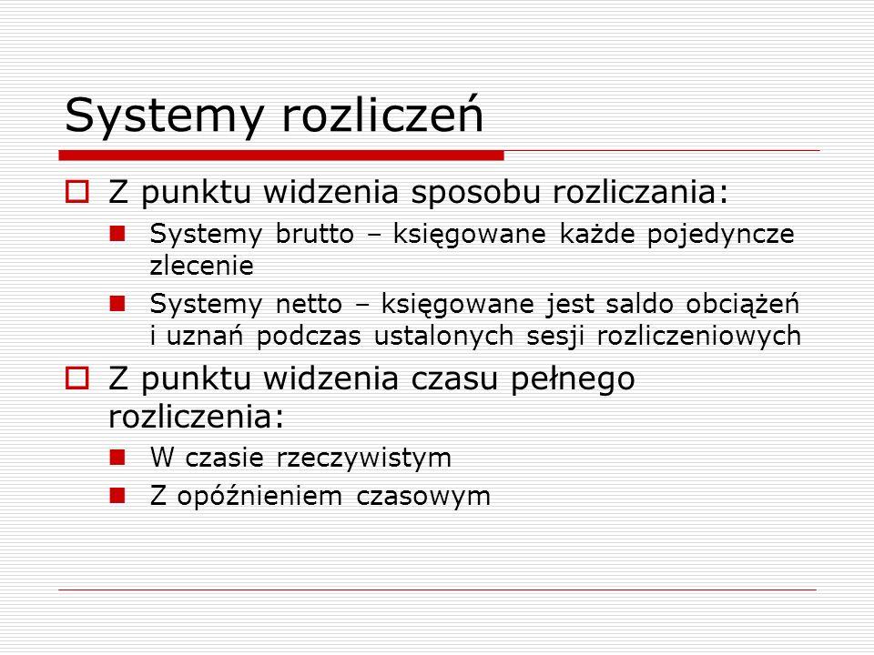 Systemy rozliczeń  Z punktu widzenia sposobu rozliczania: Systemy brutto – księgowane każde pojedyncze zlecenie Systemy netto – księgowane jest saldo