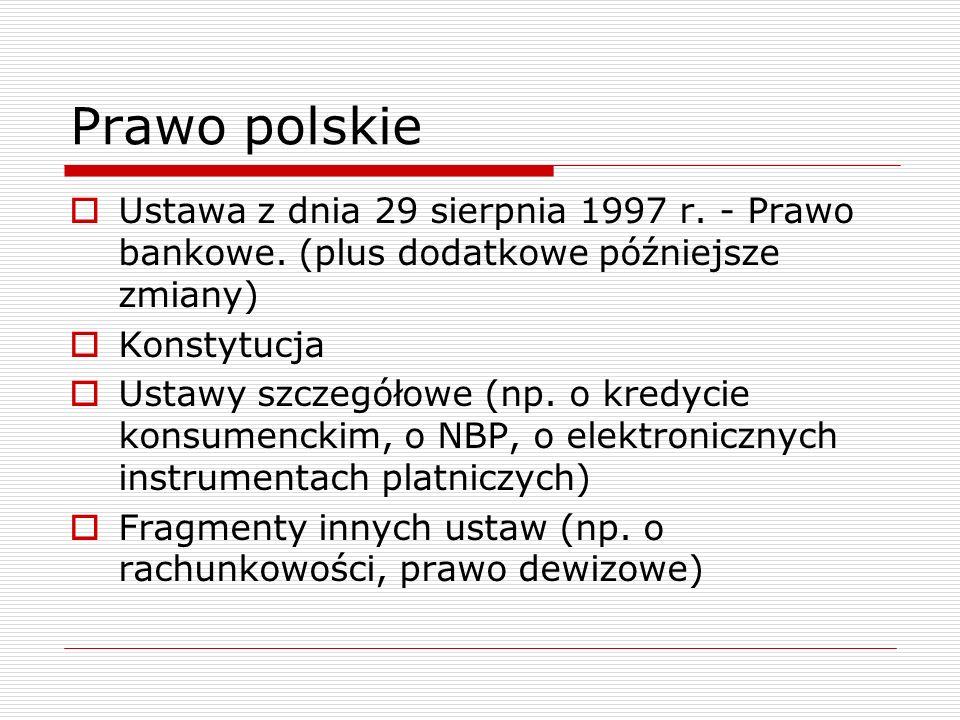 Prawo polskie  Ustawa z dnia 29 sierpnia 1997 r. - Prawo bankowe. (plus dodatkowe późniejsze zmiany)  Konstytucja  Ustawy szczegółowe (np. o kredyc
