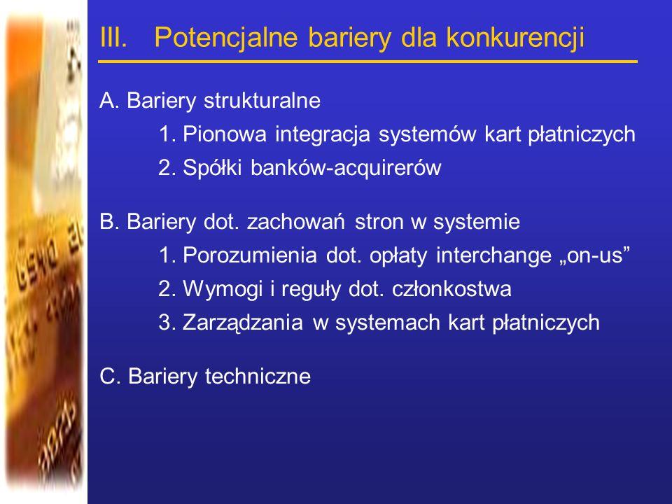 III. Potencjalne bariery dla konkurencji A. Bariery strukturalne 1. Pionowa integracja systemów kart płatniczych 2. Spółki banków-acquirerów B. Barier