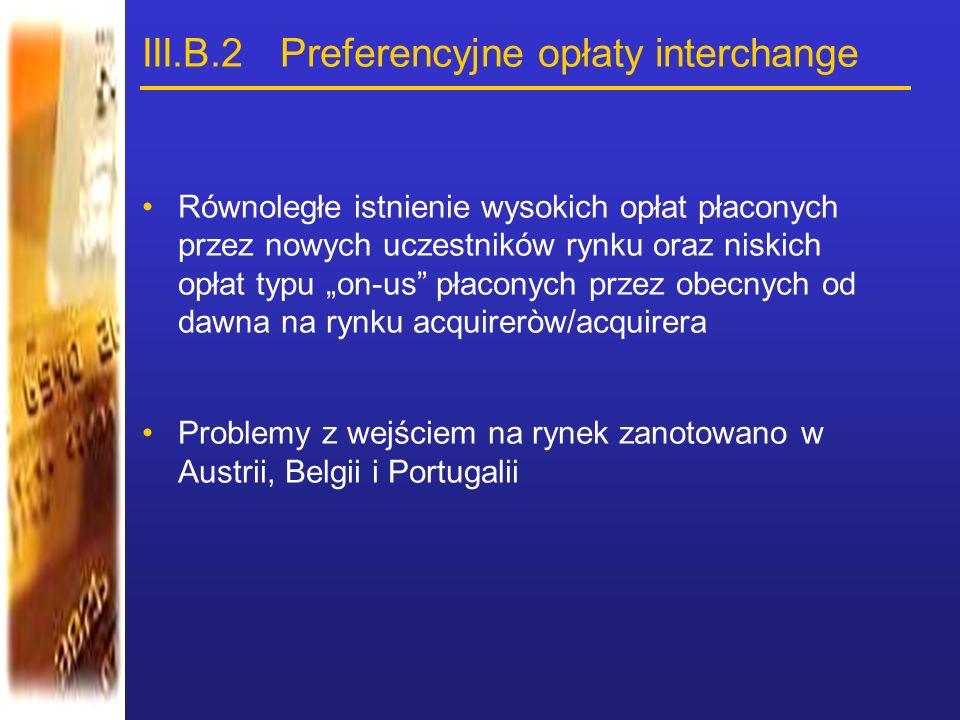 """III.B.2 Preferencyjne opłaty interchange Równoległe istnienie wysokich opłat płaconych przez nowych uczestników rynku oraz niskich opłat typu """"on-us"""""""
