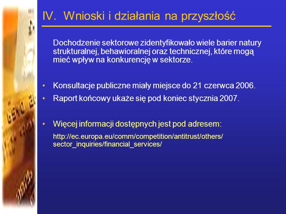 IV. Wnioski i działania na przyszłość Dochodzenie sektorowe zidentyfikowało wiele barier natury strukturalnej, behawioralnej oraz technicznej, które m