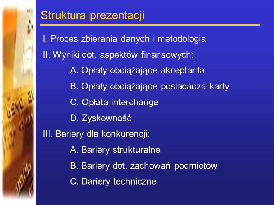Struktura prezentacji I. Proces zbierania danych i metodologia II. Wyniki dot. aspektόw finansowych: A. Opłaty obciążające akceptanta B. Opłaty obciąż