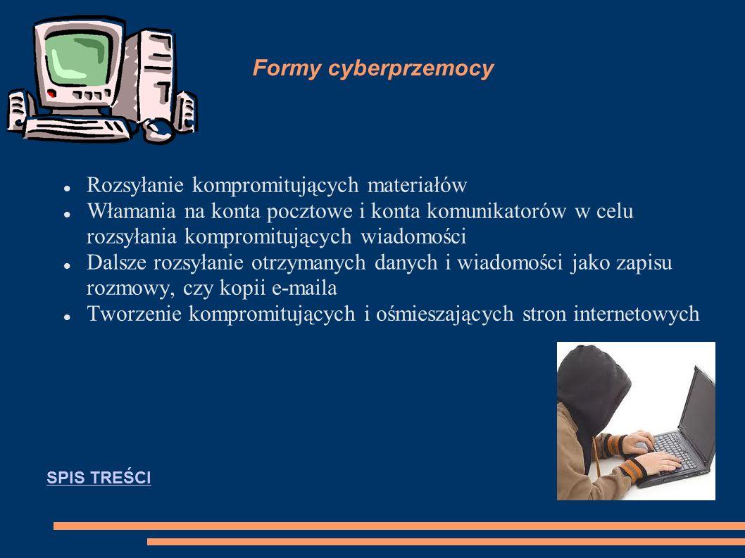 Cyberprzemoc Cyberprzemoc (agresja elektroniczna) – stosowanie przemocy poprzez: prześladowanie, zastraszanie, nękanie, wyśmiewanie innych osób z wykorzystaniem Internetu i narzędzi typu elektronicznego takich jak: SMS, e-mail, witryny internetowe, fora dyskusyjne w internecie, portale społecznościowe i inne.