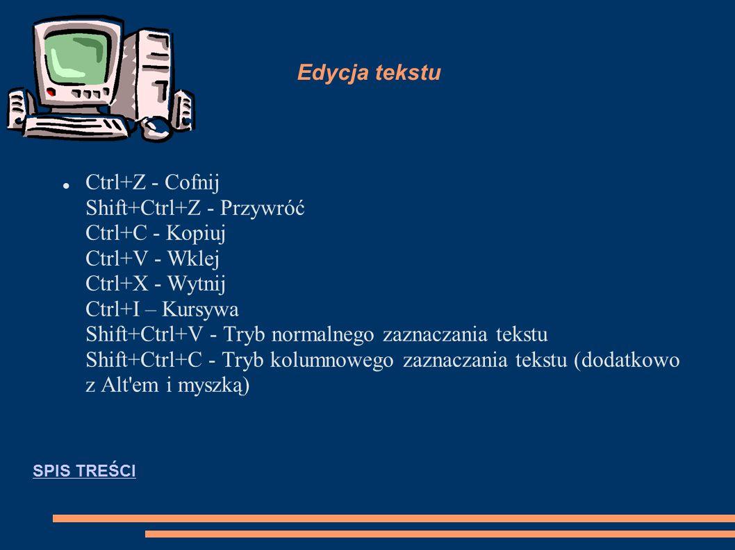 Edycja tekstu Ctrl+Z - Cofnij Shift+Ctrl+Z - Przywróć Ctrl+C - Kopiuj Ctrl+V - Wklej Ctrl+X - Wytnij Ctrl+I – Kursywa Shift+Ctrl+V - Tryb normalnego zaznaczania tekstu Shift+Ctrl+C - Tryb kolumnowego zaznaczania tekstu (dodatkowo z Alt em i myszką) SPIS TREŚCI