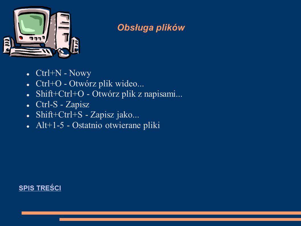 Obsługa plików Ctrl+N - Nowy Ctrl+O - Otwórz plik wideo...