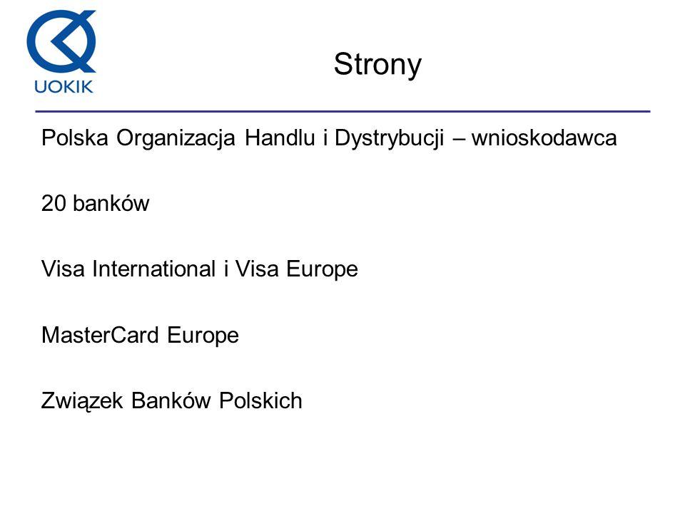 Strony Polska Organizacja Handlu i Dystrybucji – wnioskodawca 20 banków Visa International i Visa Europe MasterCard Europe Związek Banków Polskich