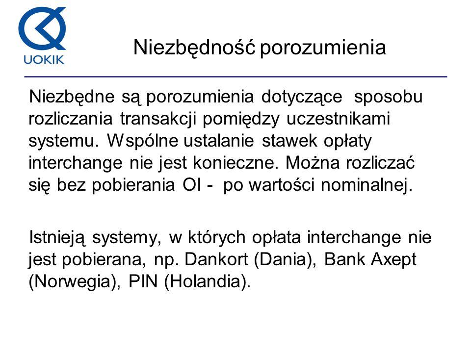 Niezbędność porozumienia Niezbędne są porozumienia dotyczące sposobu rozliczania transakcji pomiędzy uczestnikami systemu.