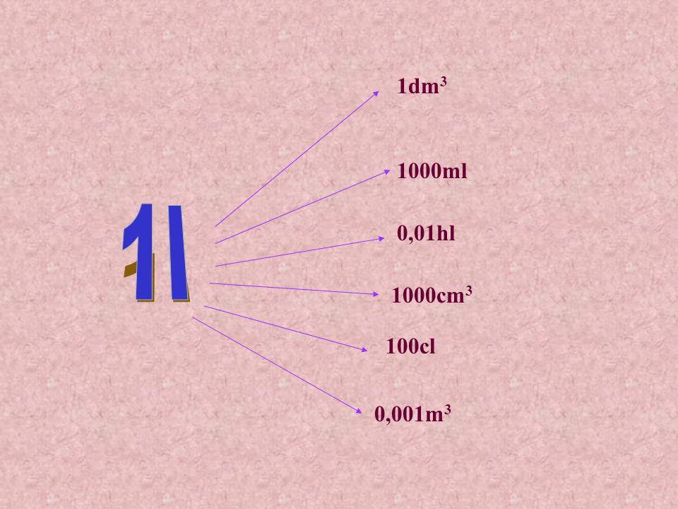 8cm 3 = 8 : 1000dm 3 = 0,008dm 3 7ml = 7 : 10cl = 0,7cl 8 cm 3 ile to dm 3 .