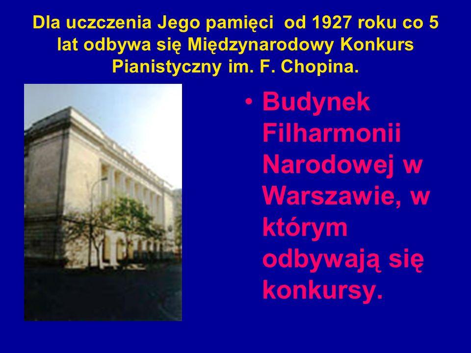 Dla uczczenia Jego pamięci od 1927 roku co 5 lat odbywa się Międzynarodowy Konkurs Pianistyczny im. F. Chopina. Budynek Filharmonii Narodowej w Warsza