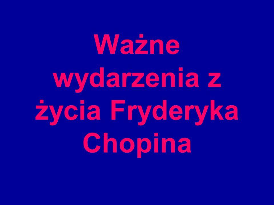 Ważne wydarzenia z życia Fryderyka Chopina