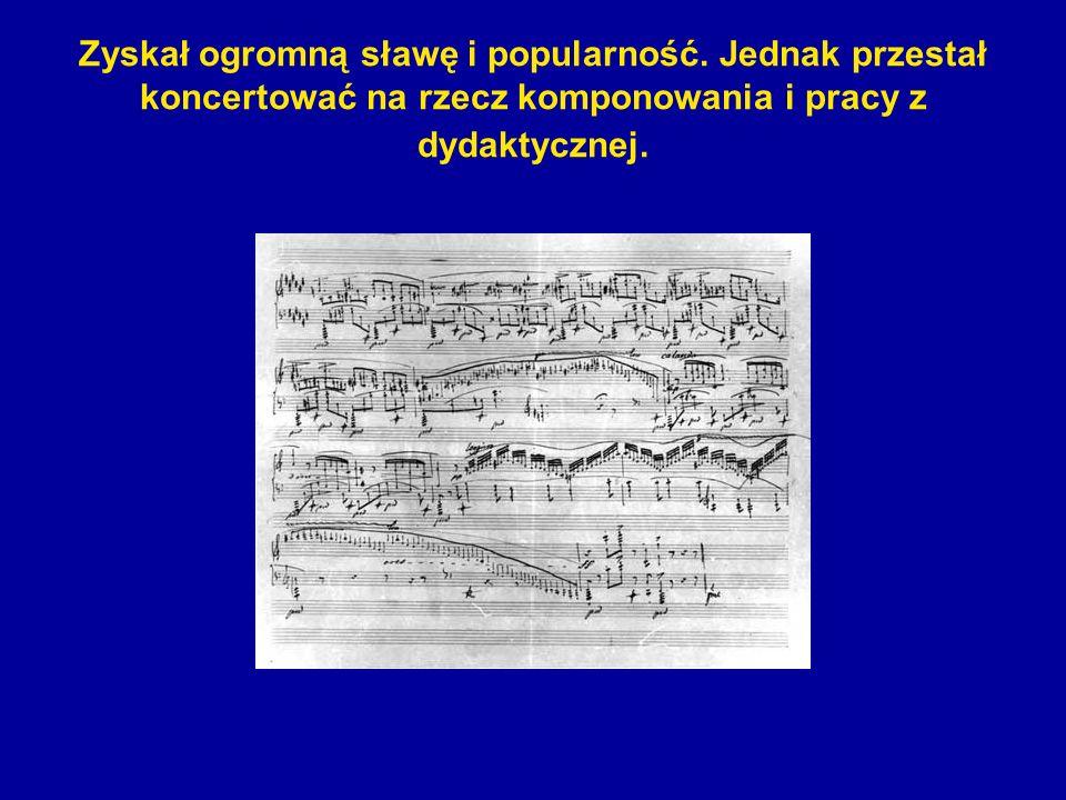 Zyskał ogromną sławę i popularność. Jednak przestał koncertować na rzecz komponowania i pracy z dydaktycznej.