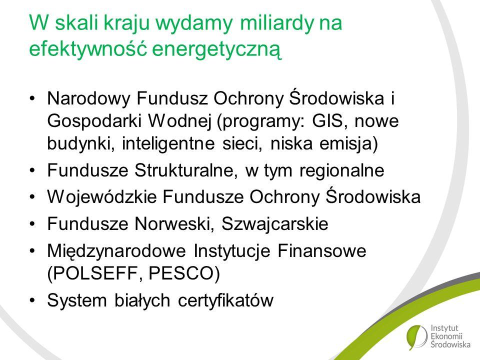 W skali kraju wydamy miliardy na efektywność energetyczną Narodowy Fundusz Ochrony Środowiska i Gospodarki Wodnej (programy: GIS, nowe budynki, inteligentne sieci, niska emisja) Fundusze Strukturalne, w tym regionalne Wojewódzkie Fundusze Ochrony Środowiska Fundusze Norweski, Szwajcarskie Międzynarodowe Instytucje Finansowe (POLSEFF, PESCO) System białych certyfikatów