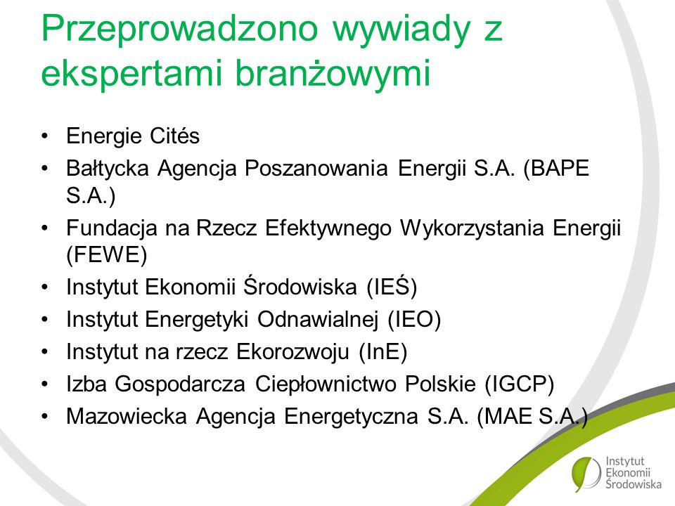 Przeprowadzono wywiady z ekspertami branżowymi Energie Cités Bałtycka Agencja Poszanowania Energii S.A.