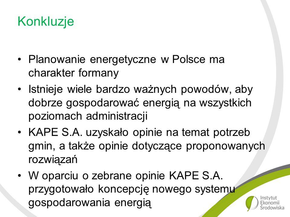 Konkluzje Planowanie energetyczne w Polsce ma charakter formany Istnieje wiele bardzo ważnych powodów, aby dobrze gospodarować energią na wszystkich poziomach administracji KAPE S.A.