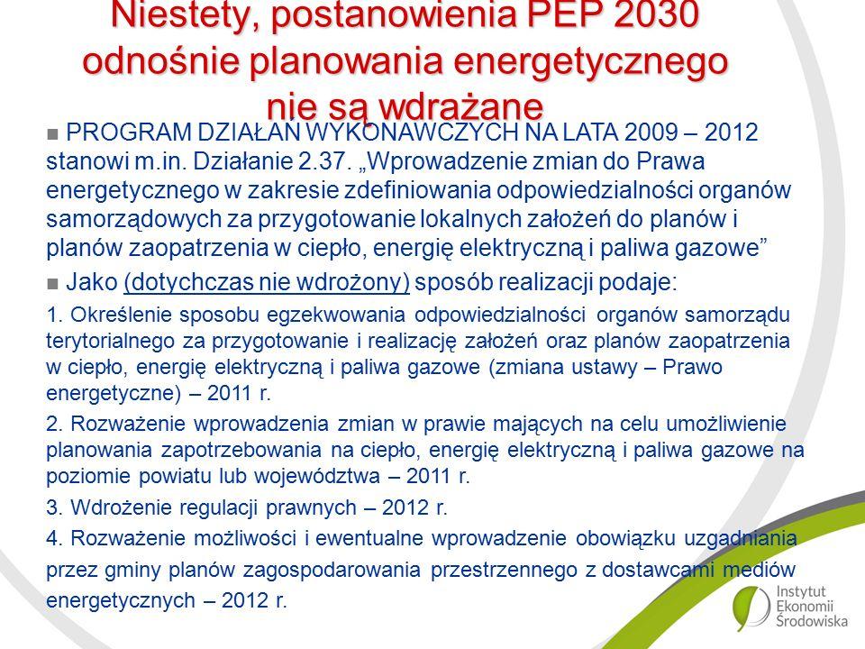 Niestety, postanowienia PEP 2030 odnośnie planowania energetycznego nie są wdrażane PROGRAM DZIAŁAŃ WYKONAWCZYCH NA LATA 2009 – 2012 stanowi m.in.