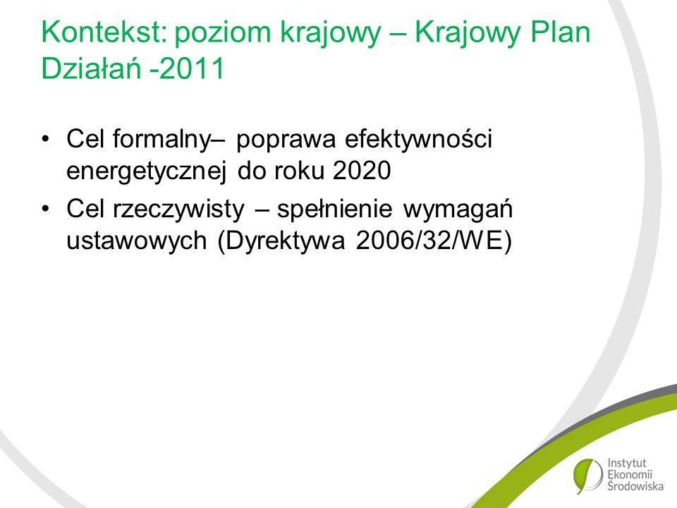 Kontekst: poziom krajowy – Krajowy Plan Działań -2011 Cel formalny– poprawa efektywności energetycznej do roku 2020 Cel rzeczywisty – spełnienie wymagań ustawowych (Dyrektywa 2006/32/WE)