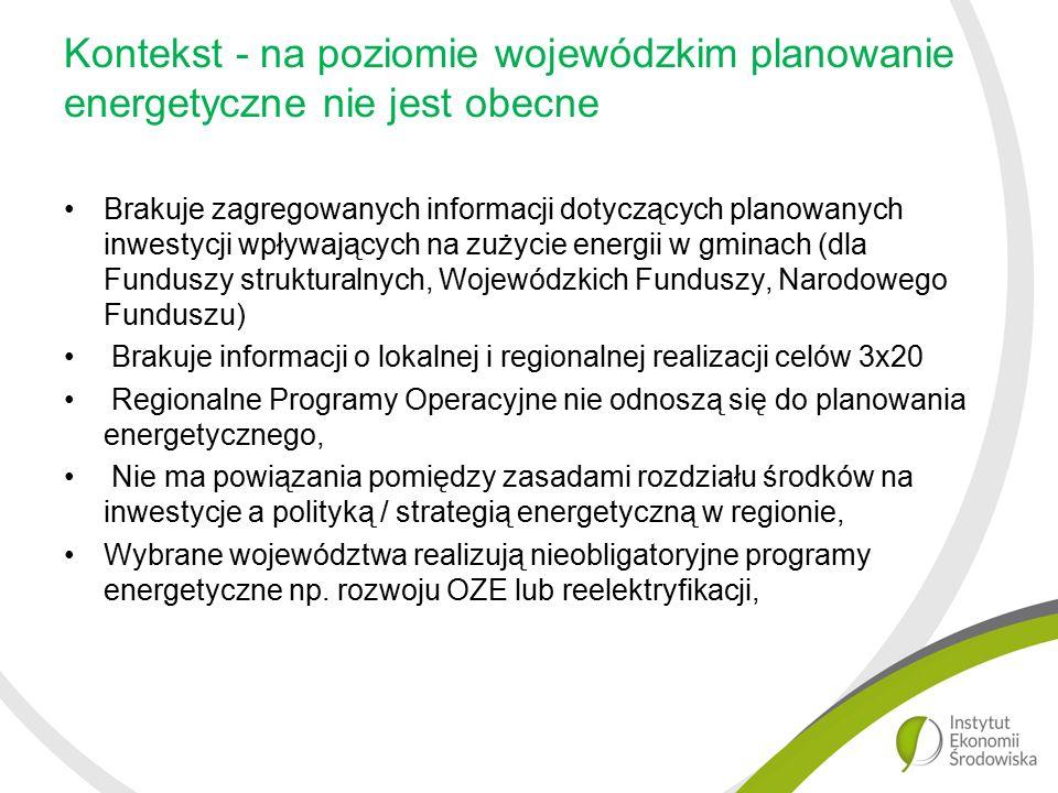 Kontekst - na poziomie wojewódzkim planowanie energetyczne nie jest obecne Brakuje zagregowanych informacji dotyczących planowanych inwestycji wpływających na zużycie energii w gminach (dla Funduszy strukturalnych, Wojewódzkich Funduszy, Narodowego Funduszu) Brakuje informacji o lokalnej i regionalnej realizacji celów 3x20 Regionalne Programy Operacyjne nie odnoszą się do planowania energetycznego, Nie ma powiązania pomiędzy zasadami rozdziału środków na inwestycje a polityką / strategią energetyczną w regionie, Wybrane województwa realizują nieobligatoryjne programy energetyczne np.