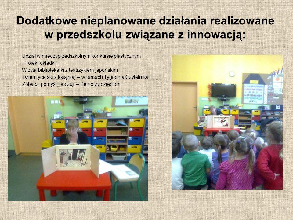 """Dodatkowe nieplanowane działania realizowane w przedszkolu związane z innowacją: - Udział w miedzyprzedszkolnym konkursie plastycznym """"Projekt okładki"""