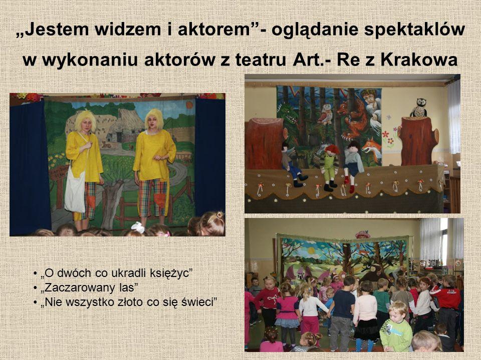 """""""Jestem widzem i aktorem""""- oglądanie spektaklów w wykonaniu aktorów z teatru Art.- Re z Krakowa """"O dwóch co ukradli księżyc"""" """"Zaczarowany las"""" """"Nie ws"""