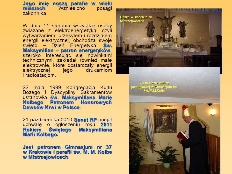 Jego imię noszą parafie w wielu miastach Jego imię noszą parafie w wielu miastach.