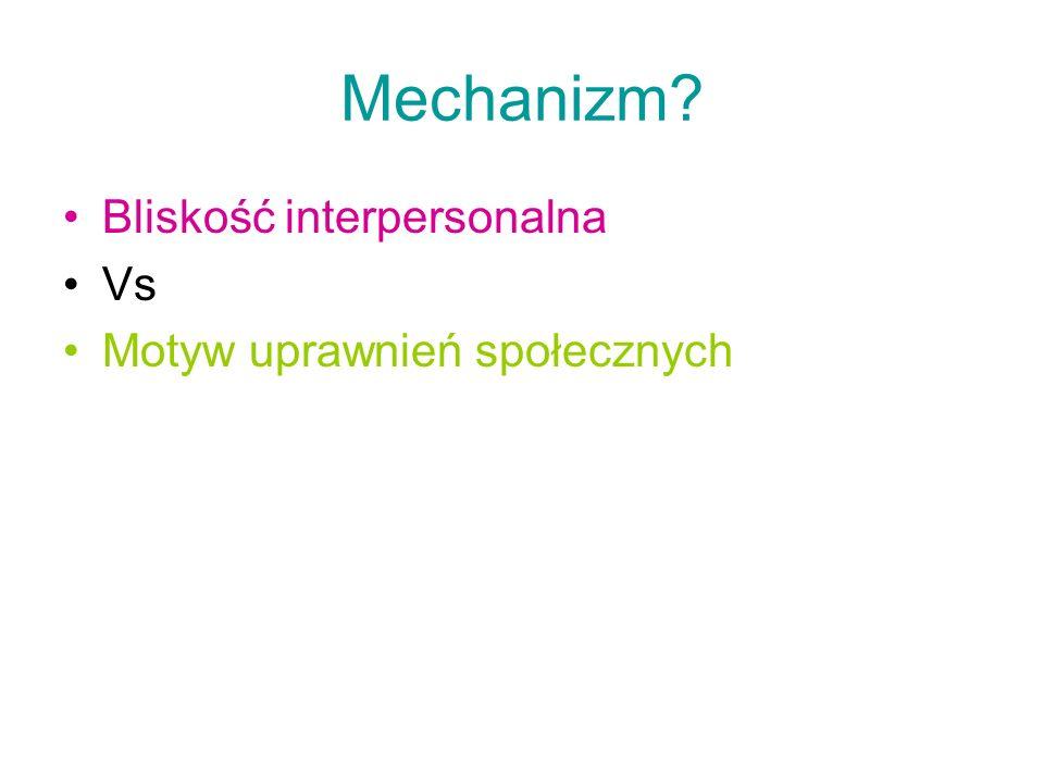 Mechanizm? Bliskość interpersonalna Vs Motyw uprawnień społecznych