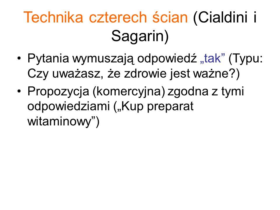 """Technika czterech ścian (Cialdini i Sagarin) Pytania wymuszają odpowiedź """"tak"""" (Typu: Czy uważasz, że zdrowie jest ważne?) Propozycja (komercyjna) zgo"""