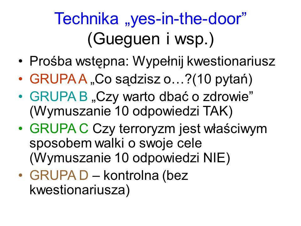 """Technika """"yes-in-the-door"""" (Gueguen i wsp.) Prośba wstępna: Wypełnij kwestionariusz GRUPA A """"Co sądzisz o…?(10 pytań) GRUPA B """"Czy warto dbać o zdrowi"""