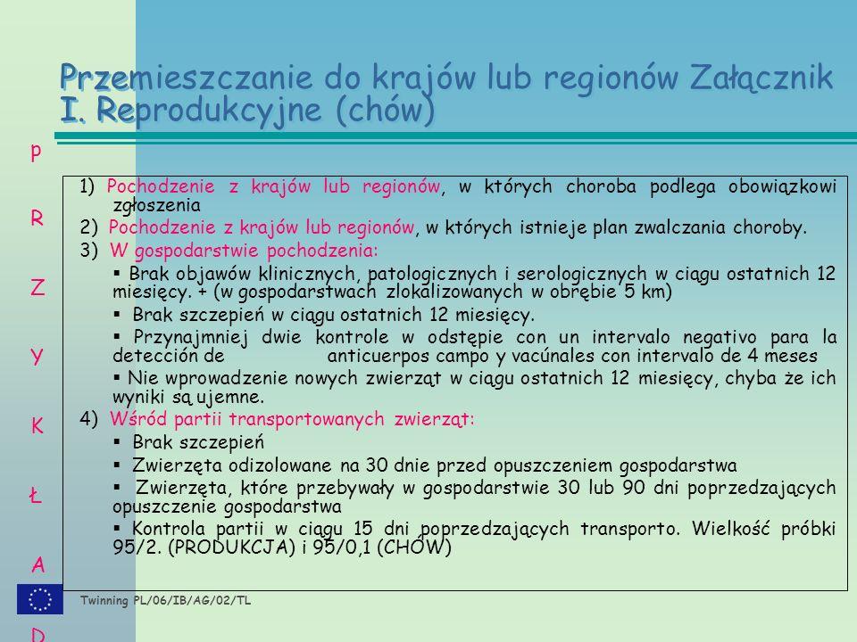 Twinning PL/06/IB/AG/02/TL 1) Pochodzenie z krajów lub regionów, w których choroba podlega obowiązkowi zgłoszenia 2) Pochodzenie z krajów lub regionów, w których istnieje plan zwalczania choroby.