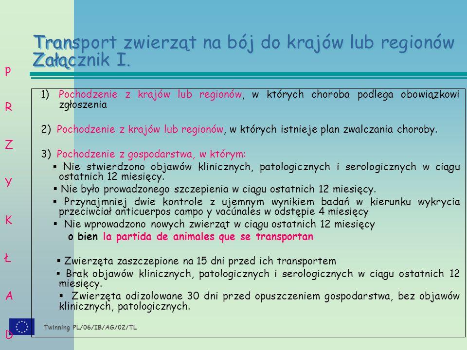Twinning PL/06/IB/AG/02/TL 1)Pochodzenie z krajów lub regionów, w których choroba podlega obowiązkowi zgłoszenia 2) Pochodzenie z krajów lub regionów, w których istnieje plan zwalczania choroby.