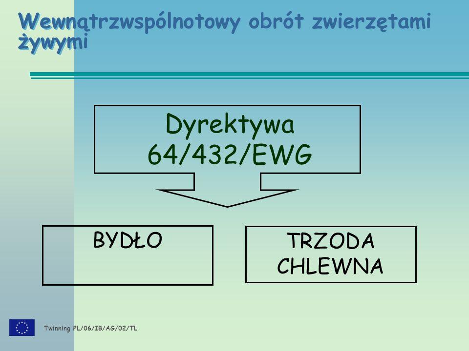 Twinning PL/06/IB/AG/02/TL Wewnątrzwspólnotowy obrót zwierzętami żywymi Dyrektywa 64/432/EWG BYDŁO TRZODA CHLEWNA