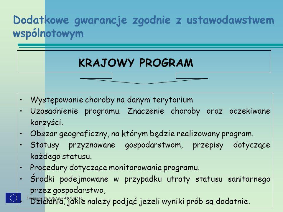 Twinning PL/06/IB/AG/02/TL Dodatkowe gwarancje Przedstawienie działającego programu Zatwierdzenie programu Realizacja programu Rozwój choroby Informacja przekazywana Komisji i państwom członkowskim Przedstawienie wyników Komisji i państwom członkowskim oraz zatwierdzenie ich Modyfikacja Decyzja 2008/185/WE Załącznik II
