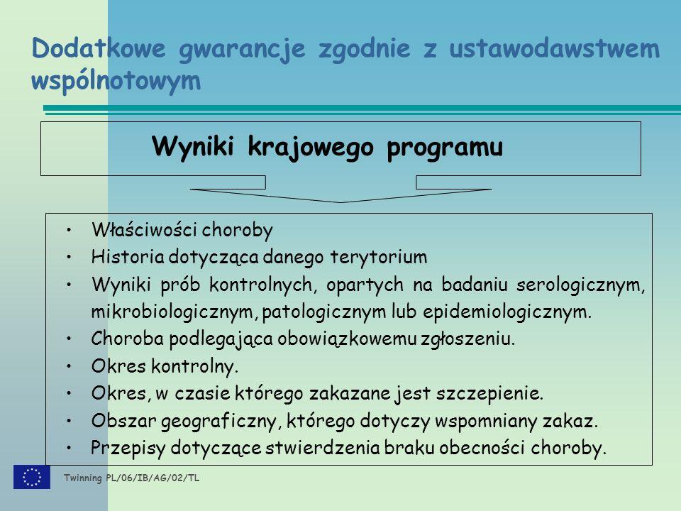 Twinning PL/06/IB/AG/02/TL Wyniki krajowego programu Właściwości choroby Historia dotycząca danego terytorium Wyniki prób kontrolnych, opartych na badaniu serologicznym, mikrobiologicznym, patologicznym lub epidemiologicznym.