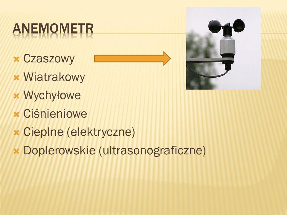  Czaszowy  Wiatrakowy  Wychyłowe  Ciśnieniowe  Cieplne (elektryczne)  Doplerowskie (ultrasonograficzne)