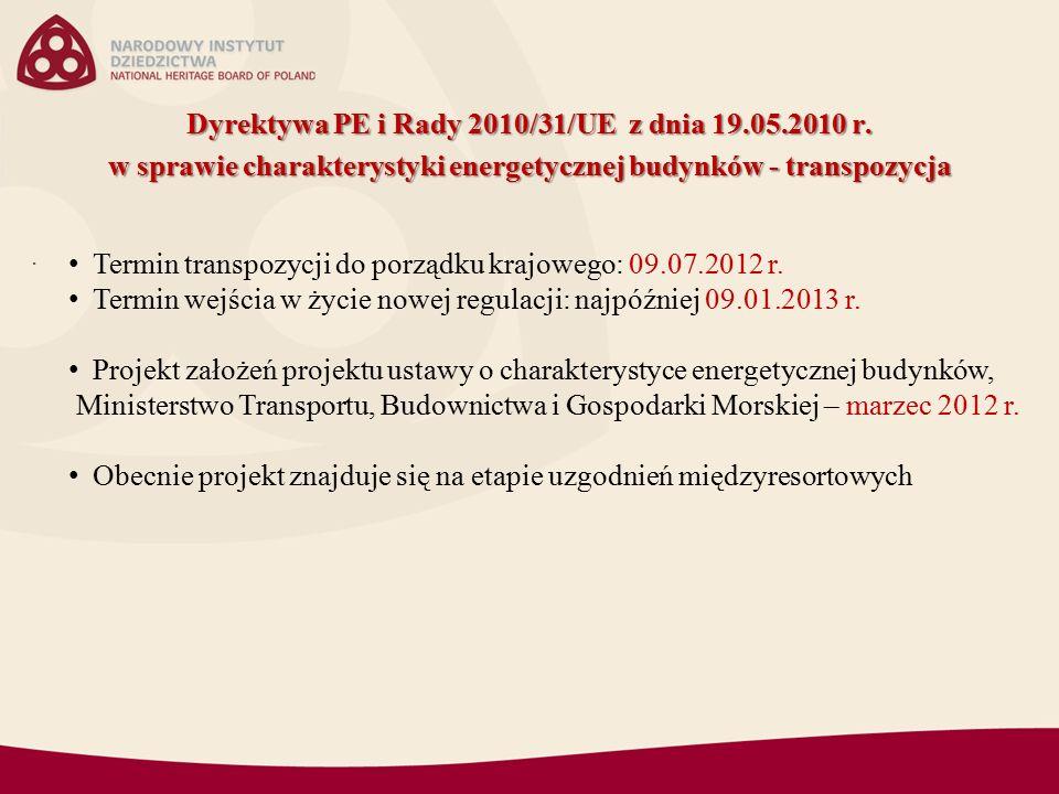 Dyrektywa PE i Rady 2010/31/UE z dnia 19.05.2010 r.