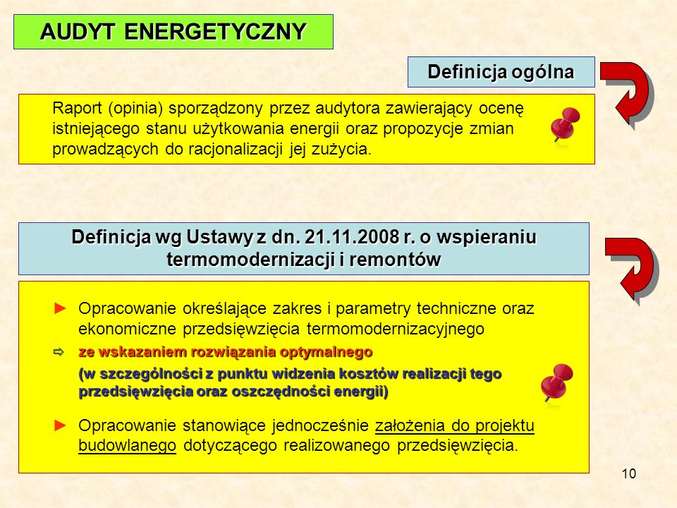 10 Raport (opinia) sporządzony przez audytora zawierający ocenę istniejącego stanu użytkowania energii oraz propozycje zmian prowadzących do racjonalizacji jej zużycia.