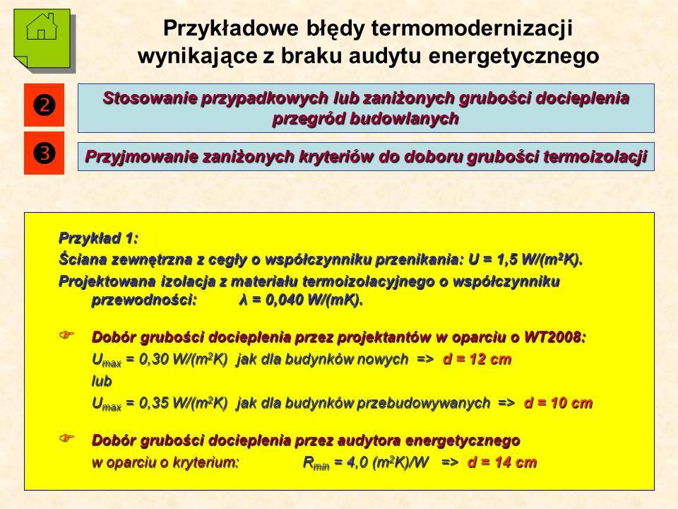 15 Przykładowe błędy termomodernizacji wynikające z braku audytu energetycznego Przykład 1: Ściana zewnętrzna z cegły o współczynniku przenikania: U = 1,5 W/(m 2 K).