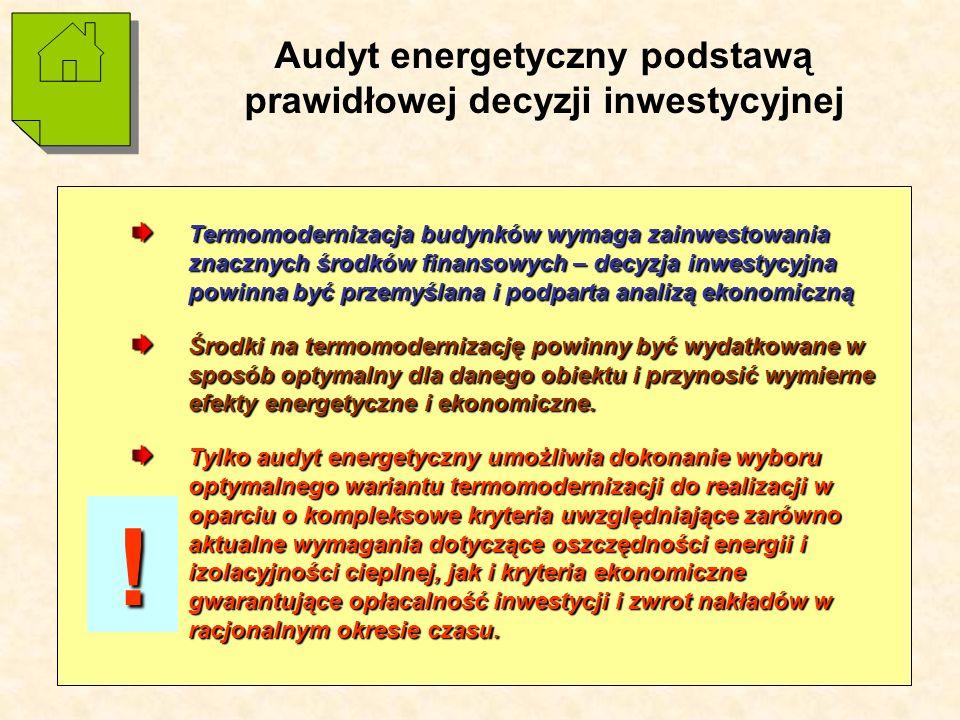 17 Audyt energetyczny podstawą prawidłowej decyzji inwestycyjnej Termomodernizacja budynków wymaga zainwestowania znacznych środków finansowych – decyzja inwestycyjna powinna być przemyślana i podparta analizą ekonomiczną Środki na termomodernizację powinny być wydatkowane w sposób optymalny dla danego obiektu i przynosić wymierne efekty energetyczne i ekonomiczne.