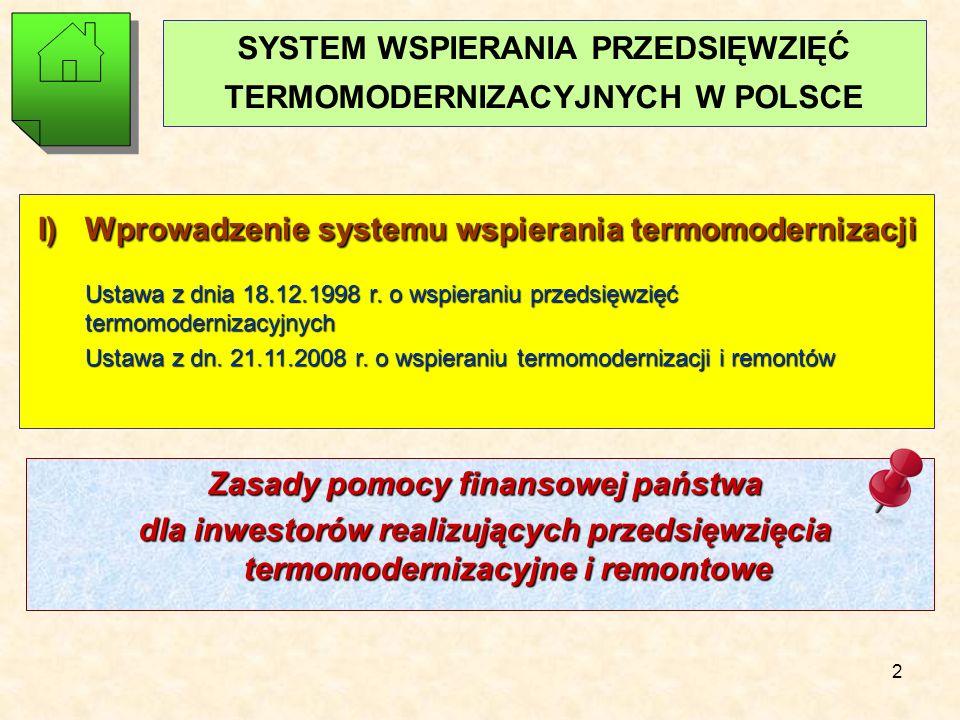 2 SYSTEM WSPIERANIA PRZEDSIĘWZIĘĆ TERMOMODERNIZACYJNYCH W POLSCE I) Wprowadzenie systemu wspierania termomodernizacji Ustawa z dnia 18.12.1998 r.