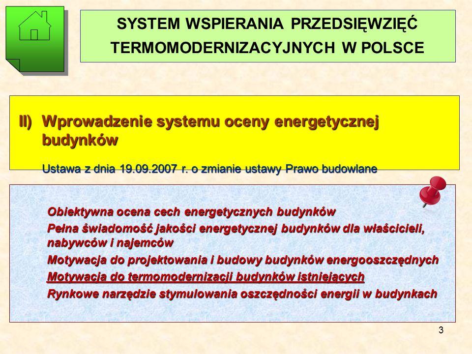 3 SYSTEM WSPIERANIA PRZEDSIĘWZIĘĆ TERMOMODERNIZACYJNYCH W POLSCE II) Wprowadzenie systemu oceny energetycznej budynków Ustawa z dnia 19.09.2007 r.