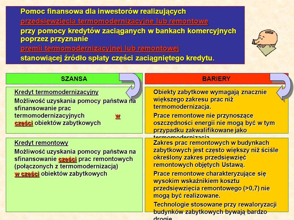 5 Kredyt termomodernizacyjny Możliwość uzyskania pomocy państwa na sfinansowanie prac termomodernizacyjnych w części obiektów zabytkowych Pomoc finansowa dla inwestorów realizujących przedsięwzięcia termomodernizacyjne lub remontowe przy pomocy kredytów zaciąganych w bankach komercyjnych poprzez przyznanie premii termomodernizacyjnej lub remontowej stanowiącej źródło spłaty części zaciągniętego kredytu.