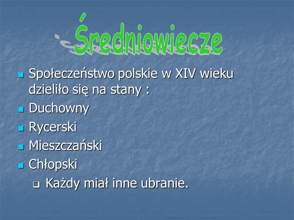 Społeczeństwo polskie w XIV wieku dzieliło się na stany : Społeczeństwo polskie w XIV wieku dzieliło się na stany : Duchowny Duchowny Rycerski Rycerski Mieszczański Mieszczański Chłopski Chłopski  Każdy miał inne ubranie.