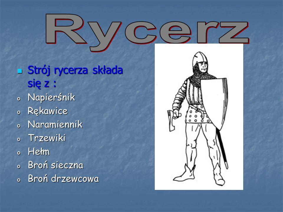 Strój rycerza składa się z : Strój rycerza składa się z : o Napierśnik o Rękawice o Naramiennik o Trzewiki o Hełm o Broń sieczna o Broń drzewcowa