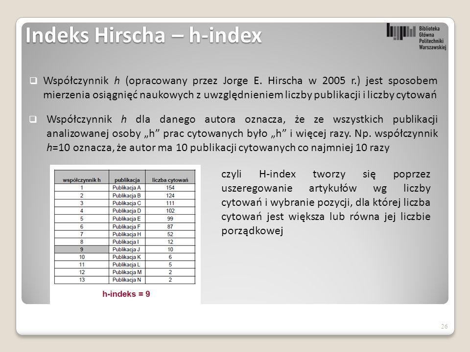 Indeks Hirscha – h-index  Współczynnik h (opracowany przez Jorge E.
